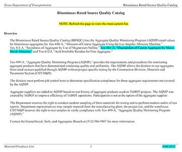 Bituminous Rated Source Quality Catalog