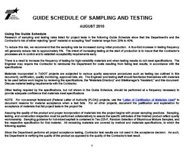 Guide Schedule of Sampling & Testing