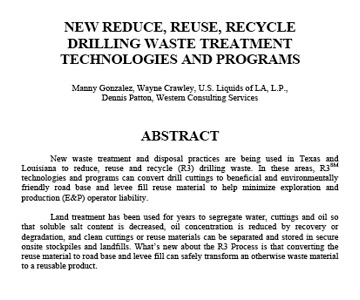 New Reduce, Reuse, Recycle Drilling Waste Treatment Technologies & Programs